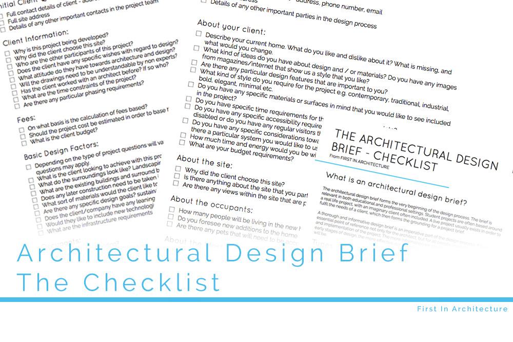 Architectural Design Brief The Checklist
