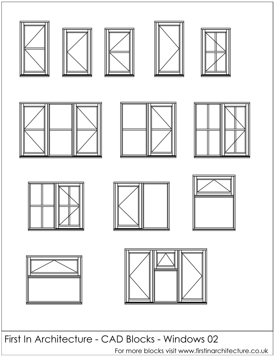 FIA CAD Blocks Windows 02  sc 1 st  First In Architecture : window drawing - pezcame.com