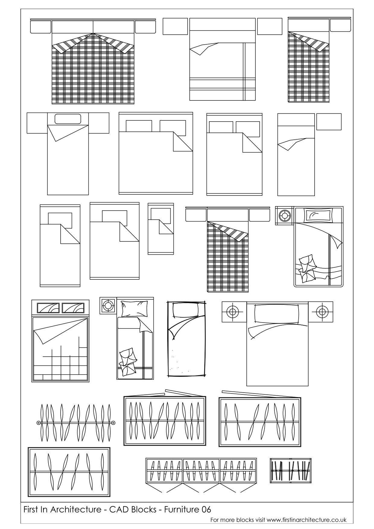 Free CAD Blocks – Beds and Wardrobes