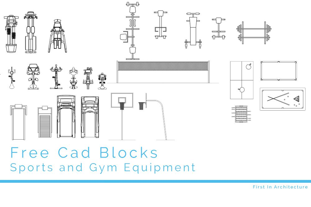 Free CAD Blocks - Sport and gym