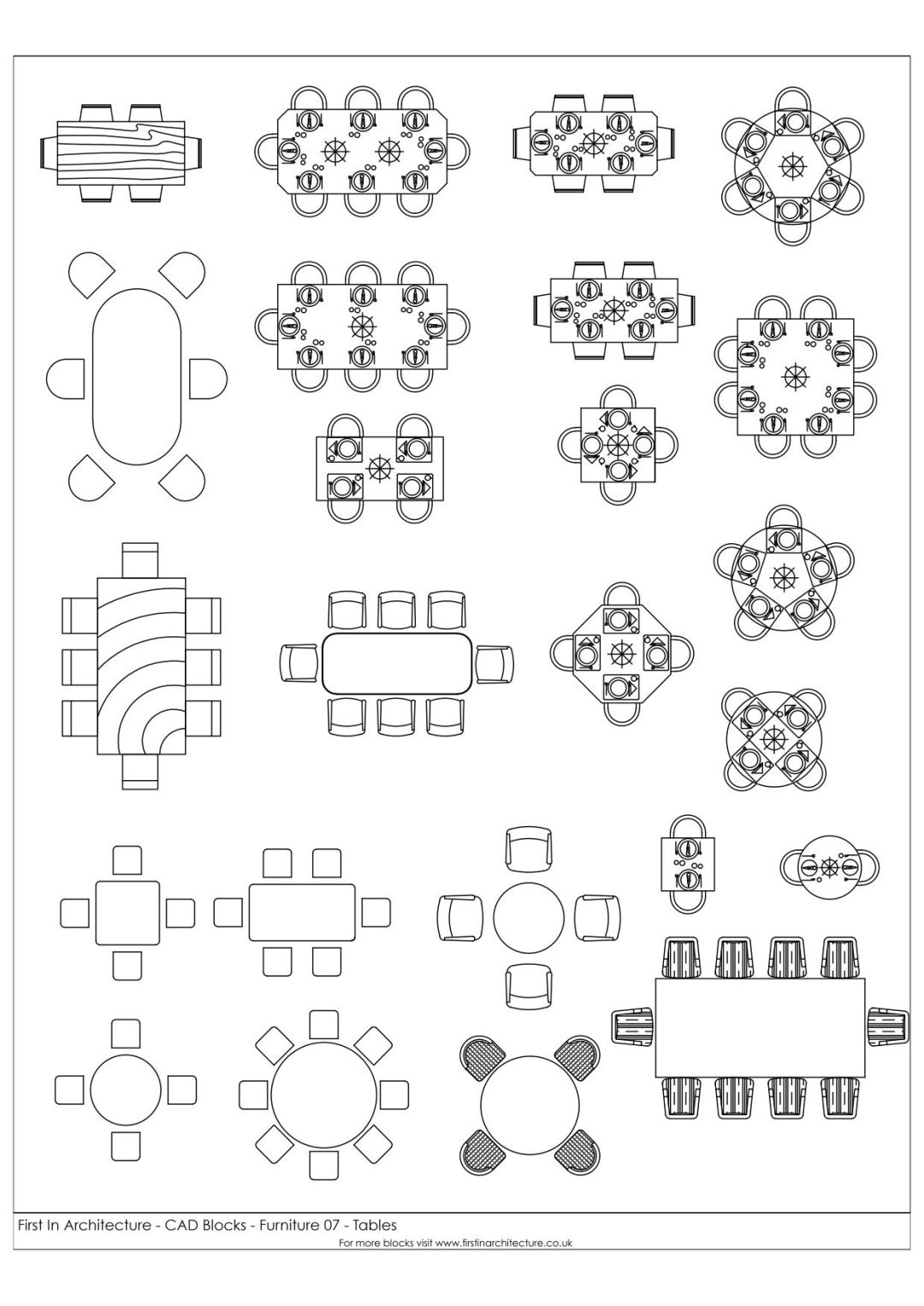 FIA Furniture CAD Blocks 07 Tables