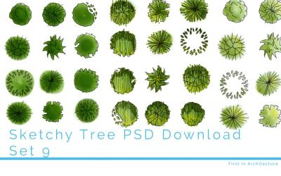 Hand drawn tree plans – Set 9