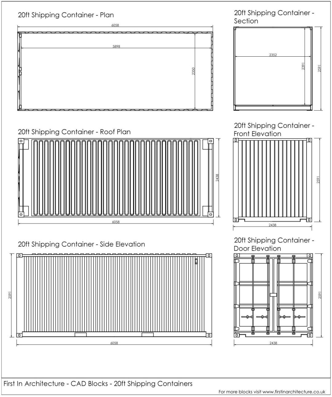 Free CAD Blocks – Shipping containers