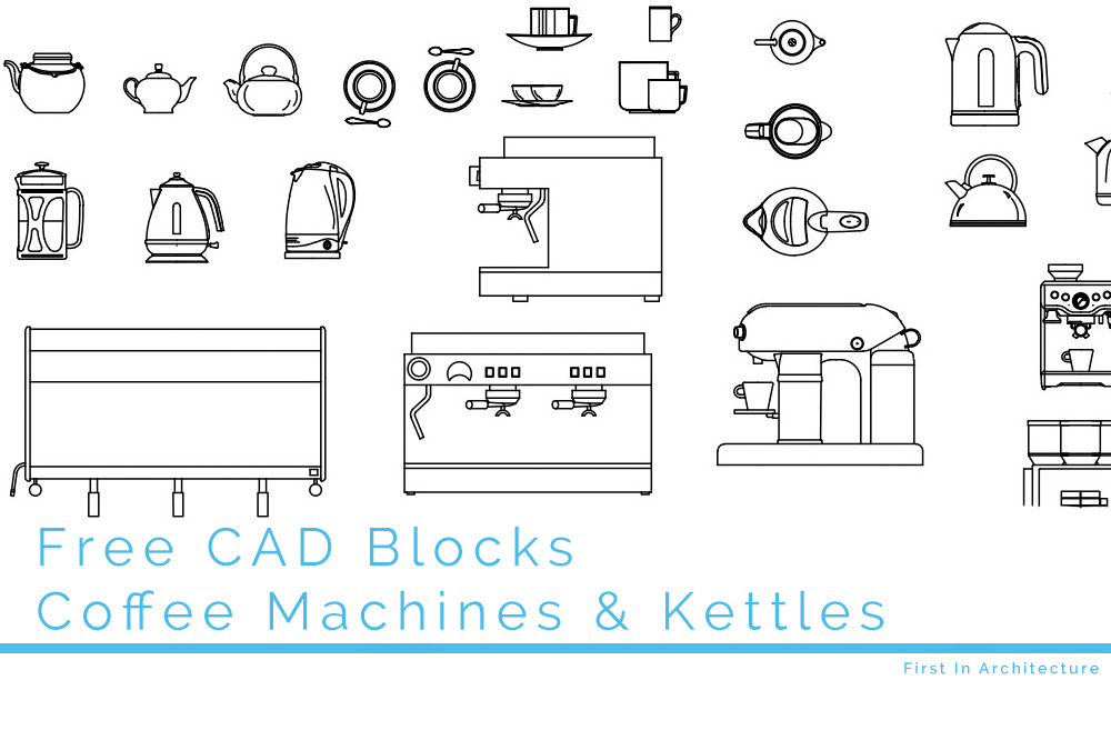 Free CAD Blocks – Coffee Machines Kettles and Tea