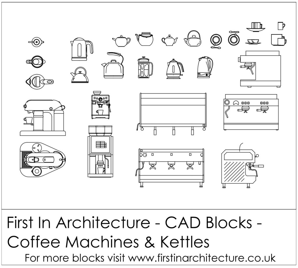 Free CAD Blocks - Coffee Machine cad blocks, kettles and teapots