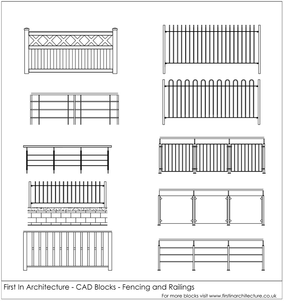 FIA CAD Blocks fencing and railing