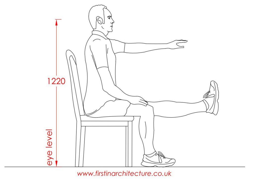 12 Eye level of man sitting