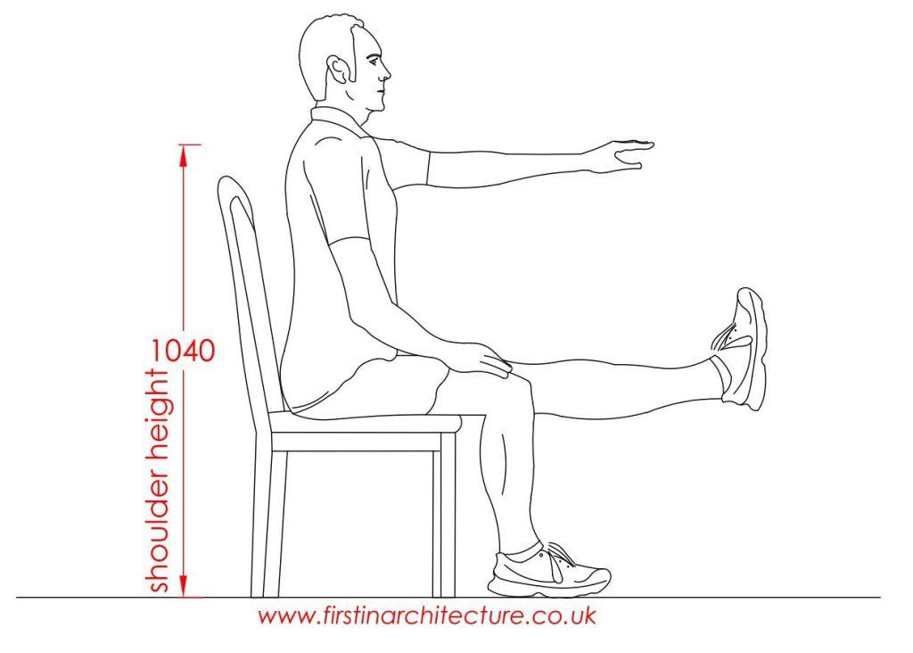 13 Shoulder height of man sitting