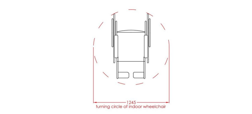 turning circle for indoor wheelchair