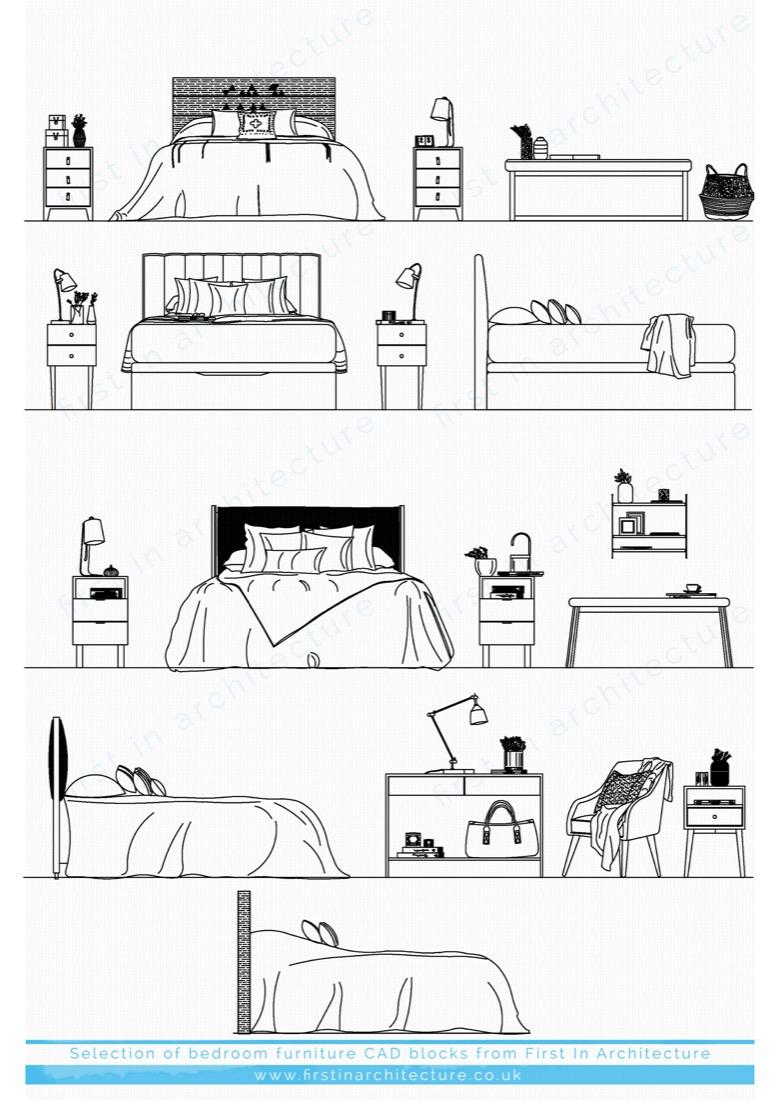 bedroom furniture cad blocks