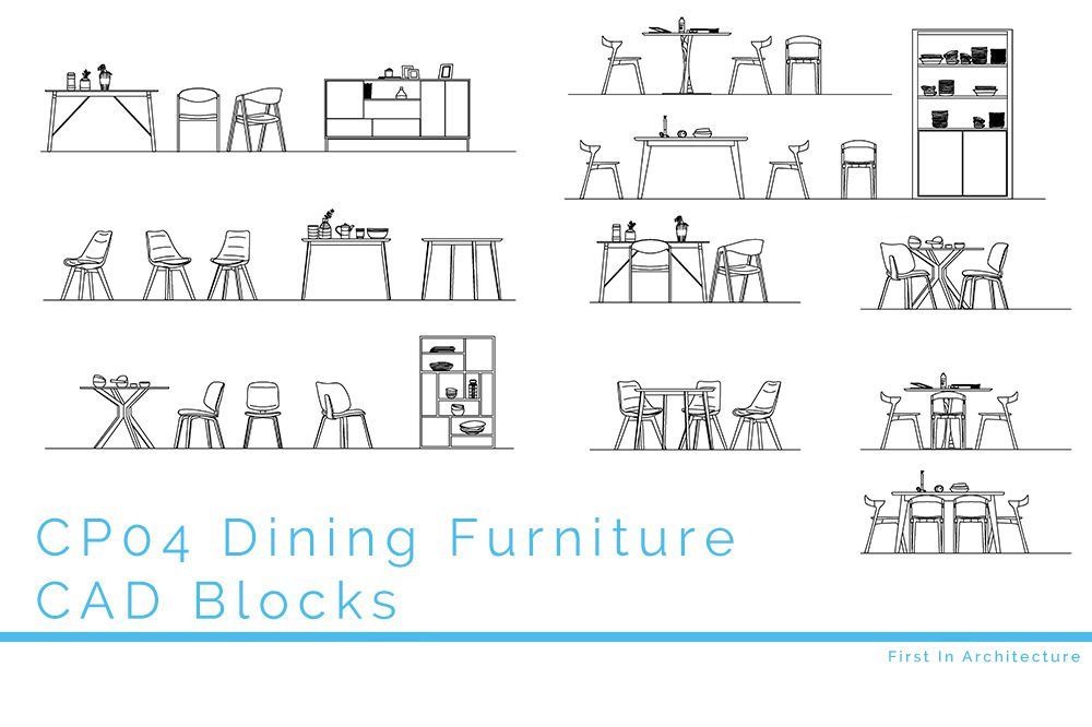 CP04 Dining Room Furniture CAD Blocks