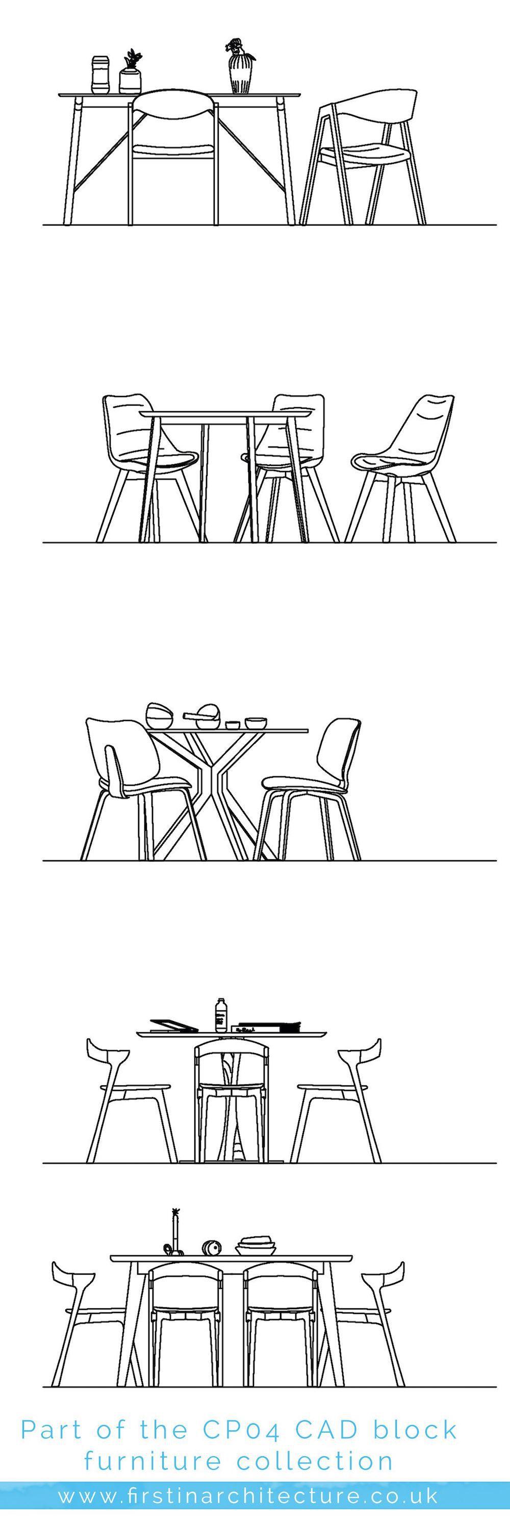 Dining room furniture cad blocks