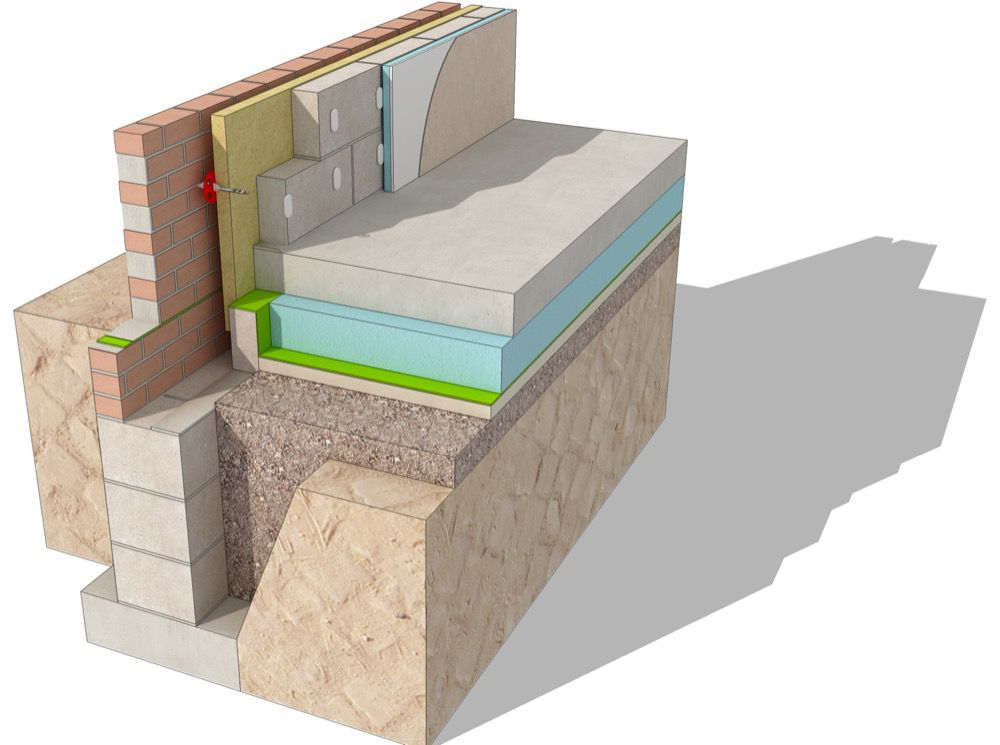 Strip Foundation Detail with suspended concrete slab 3d MG3