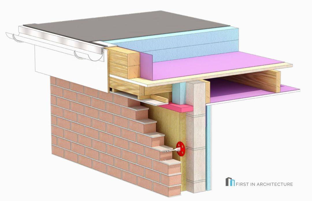 Flat roof detail 3d MR6a