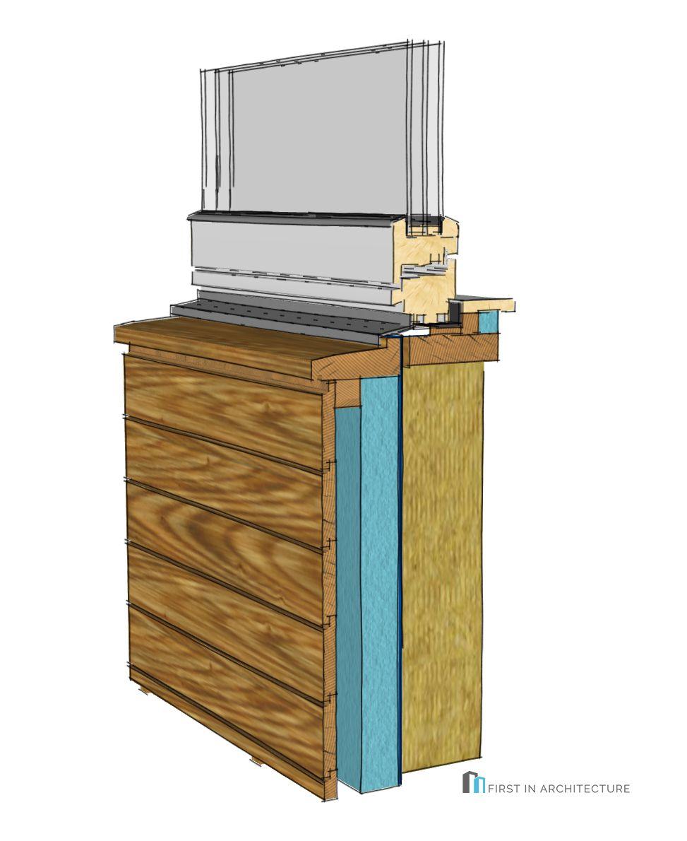 Horizontal timber cladding window sill detail 3d 14