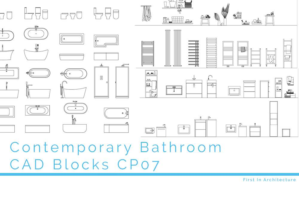 Contemporary Bathroom CAD Blocks CP07