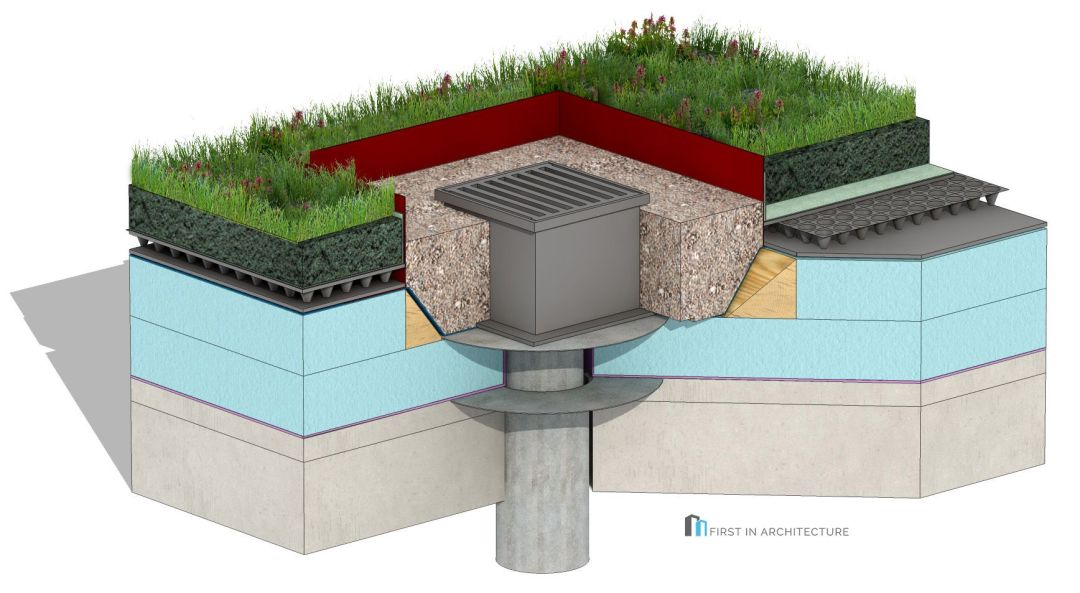 Green Roof Drainage Detail 3D