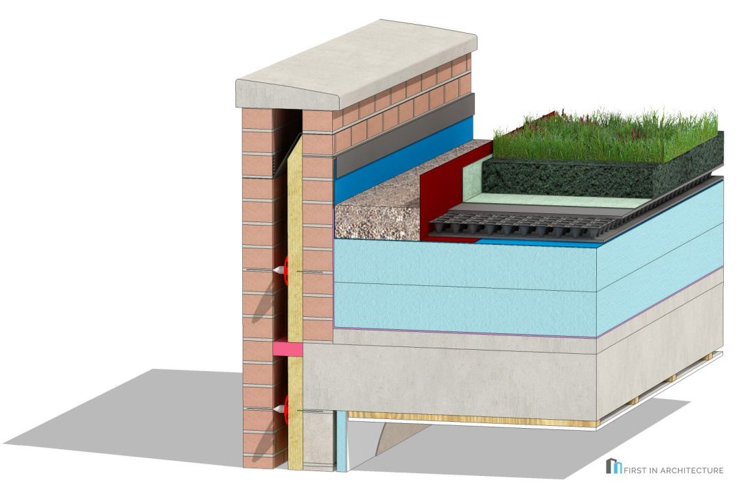 Green Roof Parapet Detail 3D