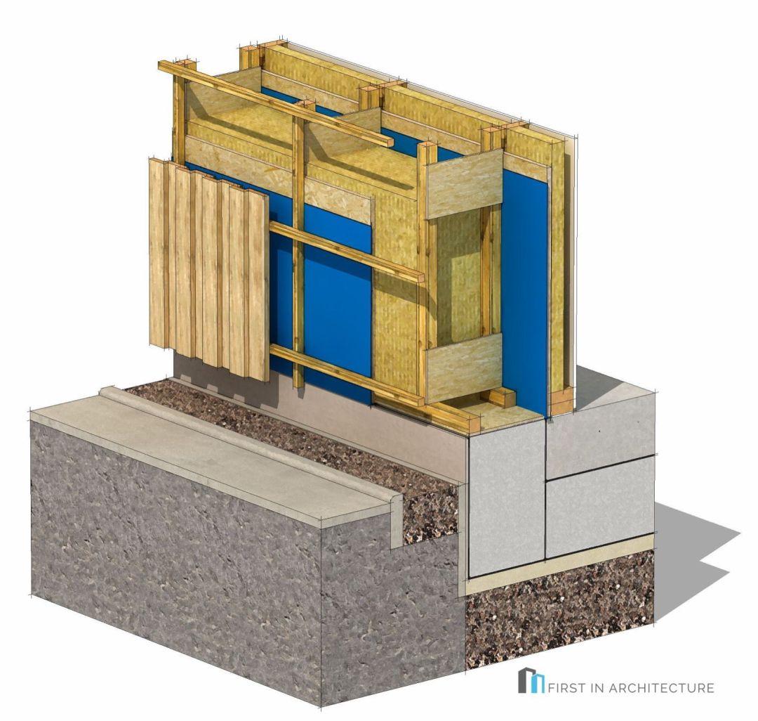Passivhaus foundation detail timber frame 3d