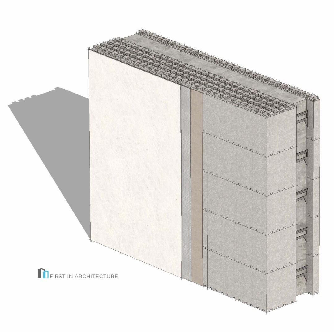 Insulated Concrete Formwork (ICF) Passivhaus wall detail 3d