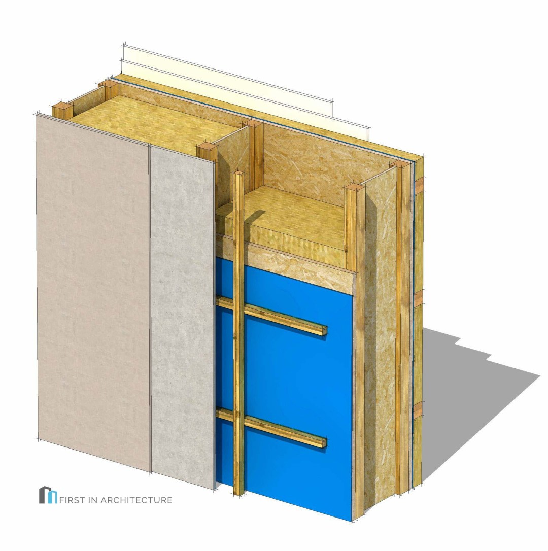 Timber I joist frame Passivhaus wall detail 3d
