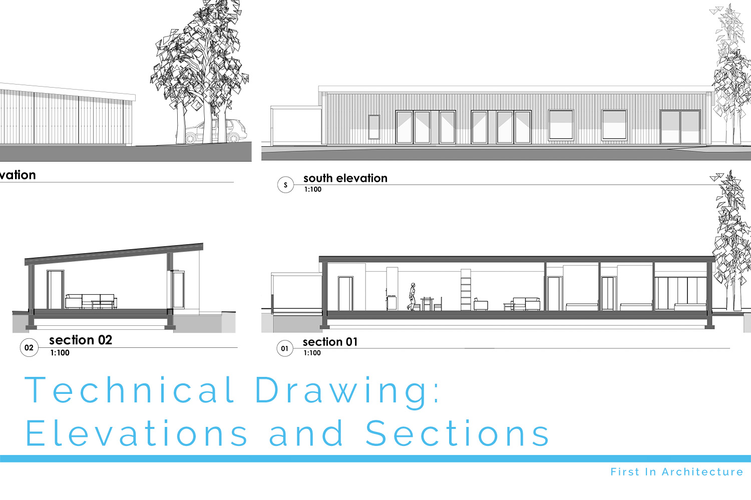 Technical Drawing Elevations And Sections First In Architecture