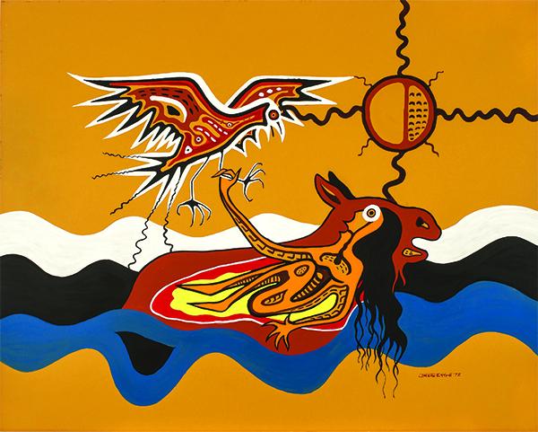Jackson Beardy, Nanabush Catches the Eagle, 1972, acrylic on board, 81.2 x 101.6 cm. Ermi Tano Collection. © Estate of Jackson Beardy. Photo credit: Don Hall