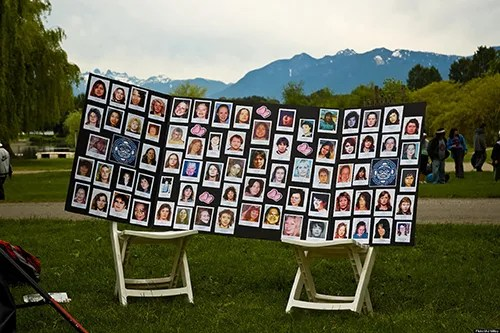 Pictures of the missing and murdered women along the Highway of Tears (the over 700 km section of highway 16 that runs between Prince George and Prince Rupert, BC).