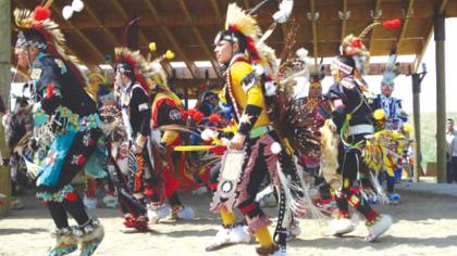 Powwow ... chicken dancing at Blackfoot Crossing. Photo: Peter Svehla