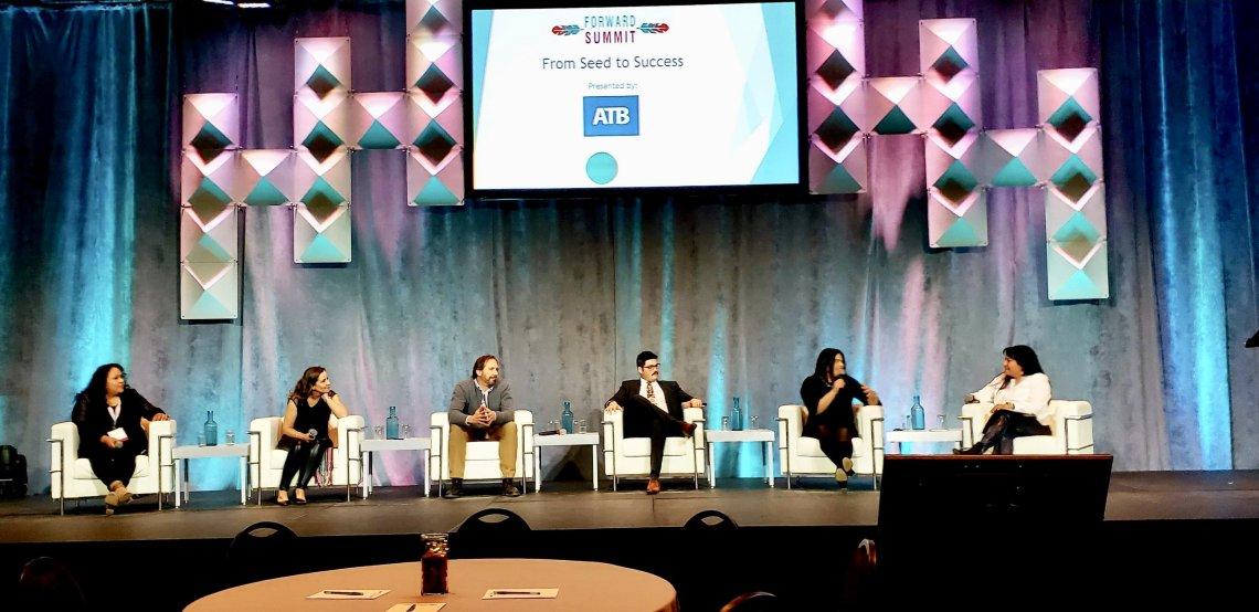 Melrene Saloy, Teara Frazier, Stephan Nairn, Jordon Jolicoeur, Jenn Harper and Heather Black who were in the Seed To Success panel.