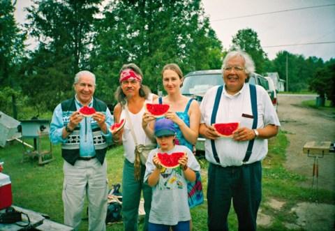 Chief Oren Lyons, Danny, Alicja Rozanska, John Mohawk, Rigel Rozanska Photo by Brian Danniels 1995