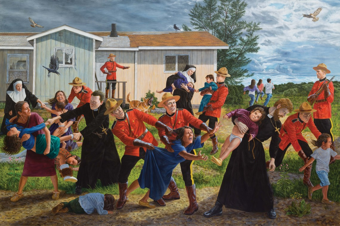 "The Scream. By Kent Monkman, 2017. Acrylic on canvas, 84"" x 126"". Collection of the Denver Art Museum, Native Arts acquisition fund."