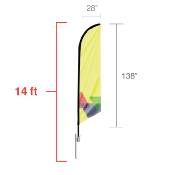 14 ft tall feather angled flag