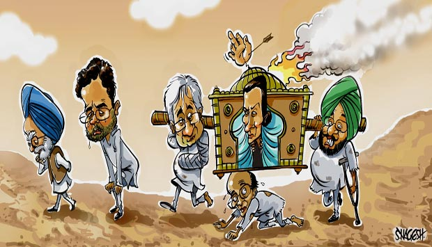 Sonia and Rahul's leadership is impeccable. The workers and other 'leaders' are to blame.  |  Cartoonist S.Nagesh in firstpost.com  |  Click for image.