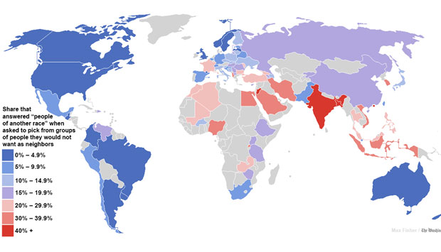 The map of the world's most and least racially tolerant countries. Image courtesy: Washington Post
