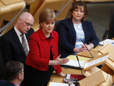 Scotland's First Minister Nicola Sturgeon attends a debate on a second referendum on independence at Scotland's Parliament in Holyrood, Edinburgh. Reuters