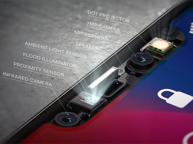 The sensors in the Notch supporting FaceID.