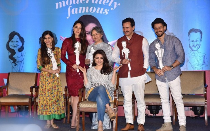 Soha Ali Khan's book launch. From left: Saba Ali Khan, Kareena Kapoor, Sharmila Tagore, Saif Ali Khan and Kunal Kemmu