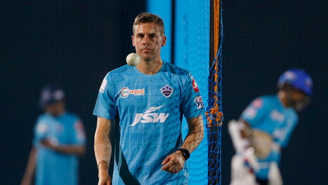 South Africa pacer Anrich Nortje was signed by the Delhi Capitals as a replacement for Chris Woakes. Image credit: Delhi Capitals