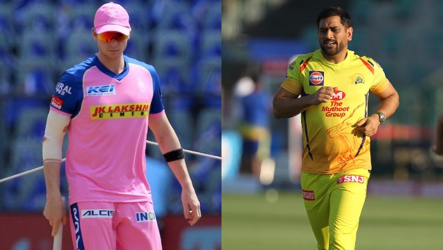 "File images of Rajasthan Royals captain Steve Smith and Chennai Super Kings skipper MS Dhoni. Images"" Sportzpics for IPL"