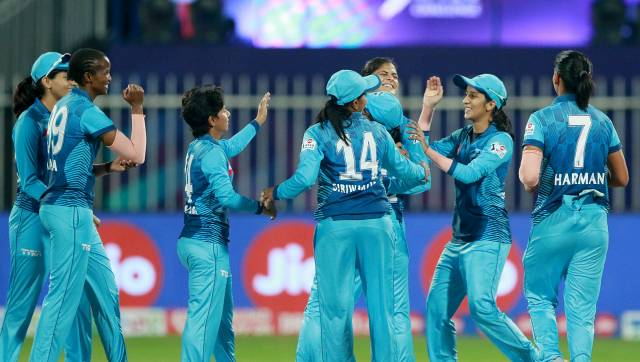 The Supernovas players after win the match during match 3 of the Jio Women's T20 Challenge 2020 between the Trailblazers and the Supernovas held at the Sharjah Cricket Stadium, Sharjah in the United Arab Emirates on the 7th November 2020. Photo by: Rahul Gulati / Sportzpics for BCCI
