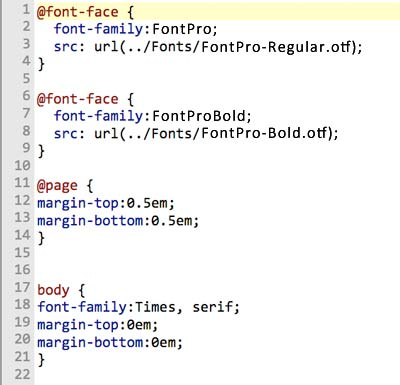 CSS example of embedding fonts