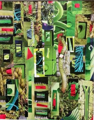 Photo of finished collage for the class by East End Art - Paper Collage, Instructor - Amy Bishop