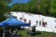 Riders participate in the annual Peace Pipe Rail Jam at Mount Snow in Vermont on Monday