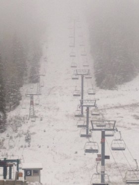"Taos reported four inches at the base and ""six or seven gloppy inches"" up high. (photo: Taos Ski Valley)"