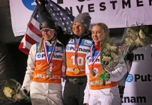 On the podium from left: second place Danielle Scott (Austrilia), first place Ashley Caldwell (USA) and third place Kristina Spiridonova (Russia) after the FIS Putnam Investments Lake Placid Freestyle World Cup Ladies' Aerials competition in Lake Placid, NY on Saturday January 14, 2017. (FTO photo: Martin Griff)