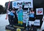On the men's podium from left, second place Benjamin Cavet (FRA), first place Dimtriy Reiherd (KZH) and third place Bradley Wilson (USA) after the FIS Putnam Investments Lake Placid Freestyle World Cup moguls competition at Whiteface Mountain in Wilmington, NY on Friday January 13, 2017 (FTO photo: Martin Griff)