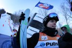 The USA's Bradley Wilson is interviewed after coming in third place at the FIS Putnam Investments Lake Placid Freestyle World Cup moguls competition at Whiteface Mountain in Wilmington, NY on Friday January 13, 2017. (FTO photo: Martin Griff)