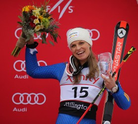 Italy's Manuela Moelgg came in third place in the women's Audi FIS Ski World Cup giant slalom race at Killington in Vermont on Saturday, November 25, 2017. (FTO photo: Martin Griff)