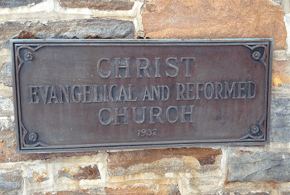 Christ Evangelical and Reformed Church cornerstone dated 1937